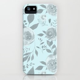 light blue and gray floral watercolor print iPhone Case