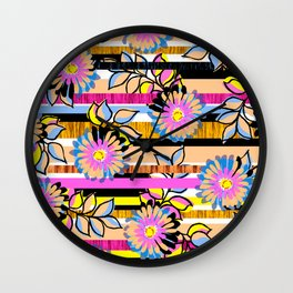 Floral Stripe Wall Clock