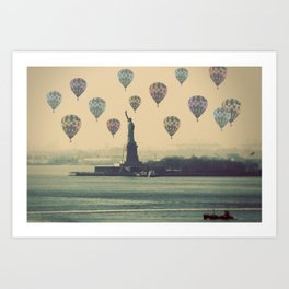 Balloons over Lady Liberty Art Print