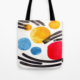 Mid Century Modern Abstract Juvenile childrens Fun Art Primary Colors Watercolor Minimalist Pop Art Tote Bag