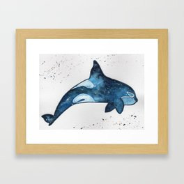 """Blue galaxy Orca"" watercolor painting Framed Art Print"