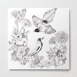 Illustrated Birds pattern Metal Print