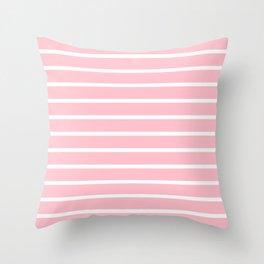 Horizontal Lines (White/Pink) Throw Pillow