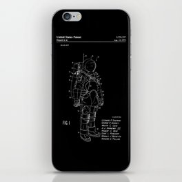 NASA Space Suit Patent - White on Black iPhone Skin