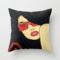 aaliyah Throw Pillows featuring AAliyah by TheArtGoon