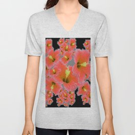 BLACK-GREY CORAL COLOR HIBISCUS ART Unisex V-Neck