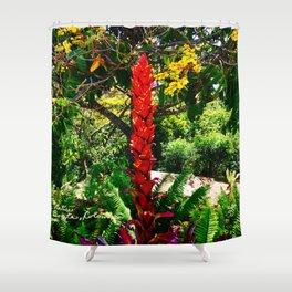 Alpinia purpurata – Red Ginger Flower, Nature in Bogota, Colombia Shower Curtain