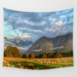 New Zealand South Island Landscape With Sheep Panorama Wall Tapestry