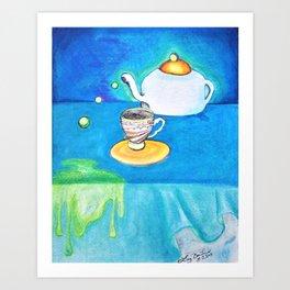 Color pencil Tea Cup and Pot Blue  Art Print