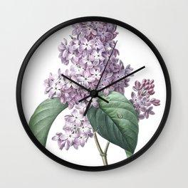 Nature, botanical print, flower poster art of Lilac Wall Clock