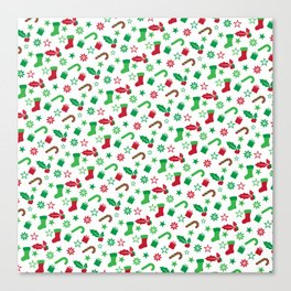 Red And Green Christmas Objects Decor Canvas Print