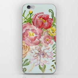 Bouquet of Spring Flowers Light Aqua iPhone Skin