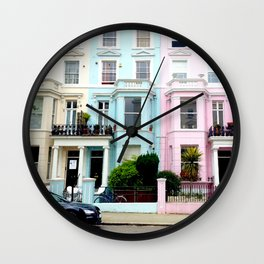 Pastel houses Wall Clock
