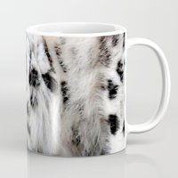 snow leopard Mugs featuring Snow Leopard by Moody Muse