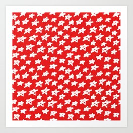 Stars on red background Art Print