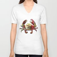 crab V-neck T-shirts featuring Lucky Crab by JonezuArt