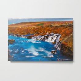 Water flow in Iceland Europe Metal Print