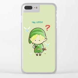 Hey Listen! Cute Link From Zelda Kawaii :) Clear iPhone Case