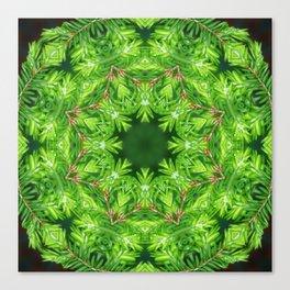 Spring green Canadian Hemlock mandala Canvas Print