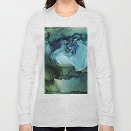 Land and Water Abstract Ink Painting Blues and Greens Long Sleeve T-shirt