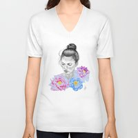 peony V-neck T-shirts featuring Peony by Libby Watkins Illustration