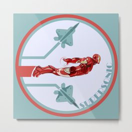 iron man and F22 raptor  Metal Print