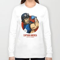 steve rogers Long Sleeve T-shirts featuring Steve Rogers, The Fist Avenger by Randy Meeks