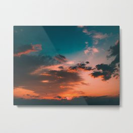 Colorful Pink Orange Turquoise Sunset Clouds Ombre Gradient Metal Print