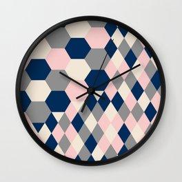 Honeycomb Blush and Grey Wall Clock