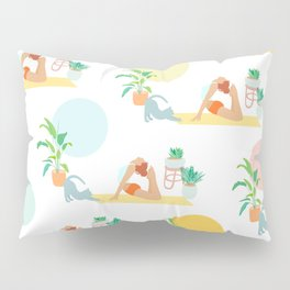 Summer Yoga Pose with Cat and Plants Pillow Sham