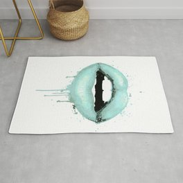 Spearmint Aqua Lips Art Makeup Decor Watercolor Kiss Love Sexy Girl Fashion Poster Lipstick Rug