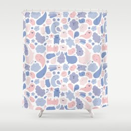 Colors Of The Year Doodle - Rose Quartz & Serenity - Pantone Shower Curtain