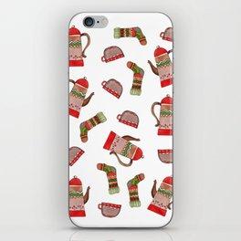 Winter tea pattern iPhone Skin