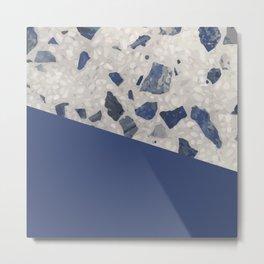 Terrazzo Texture Dark Blue #2 Metal Print