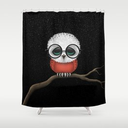 Baby Owl with Glasses and Polish Flag Shower Curtain