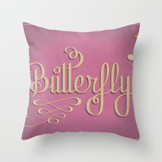 Butterfly Letttering Throw Pillow