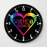 video games Wall Clocks featuring love video games by seb mcnulty
