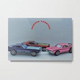Vintage Hot Wheels Purple Bye Focal, Red Bye Focal & Pink Olds 442 Redline Poster Metal Print