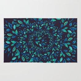 Blue Leaves Mandala Rug