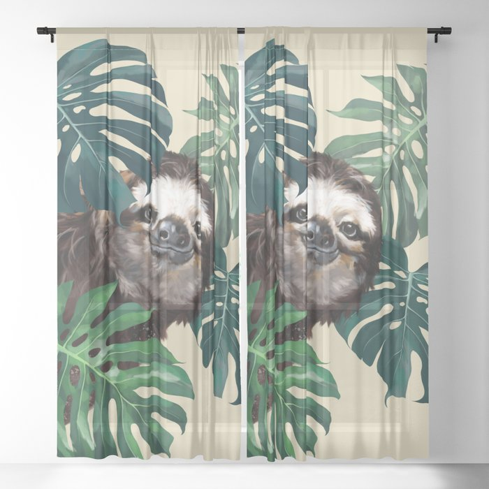Sneaky Sloth with Monstera Sheer Curtain