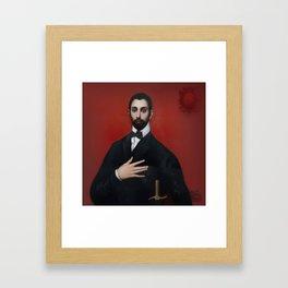 Cavaller de la ma al pit Framed Art Print