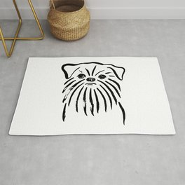 Brussels Griffon (Black and White) Rug