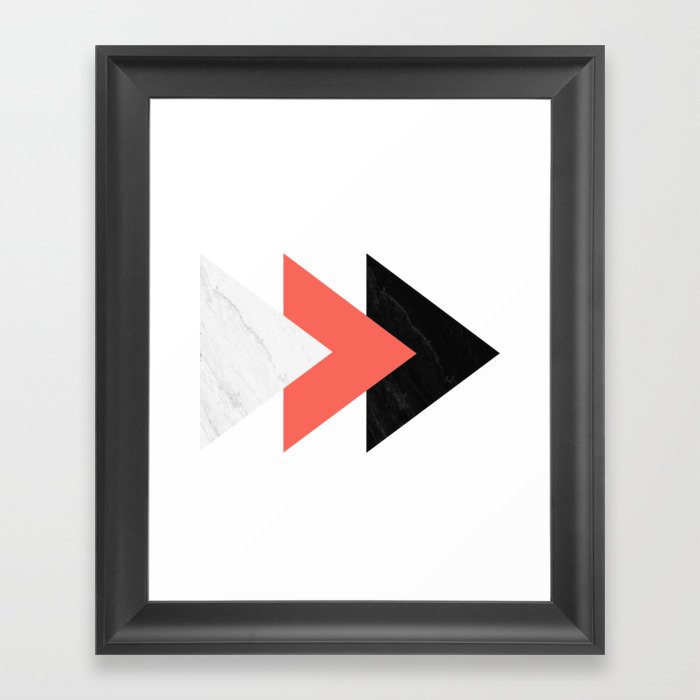 Forward arrows marble coral collage Framed Art Print