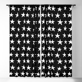 Star Pattern White On Black Blackout Curtain