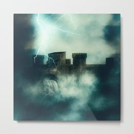 Medieval fortress in the heavy fog at night Metal Print