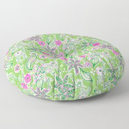 Fun Preppy Whimsical Giraffe Floral Print / Pattern Floor Pillow