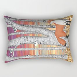nuthatches and fox in the birch forest Rectangular Pillow