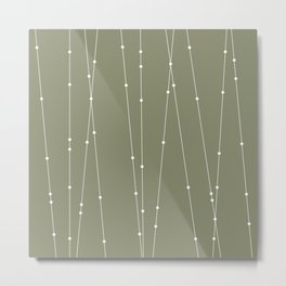 Contemporary Intersecting Vertical Lines in Sage Green Metal Print