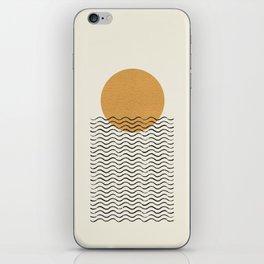 Ocean wave gold sunrise - mid century style iPhone Skin