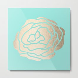Rose in White Gold Sands on Tropical Sea Blue Metal Print
